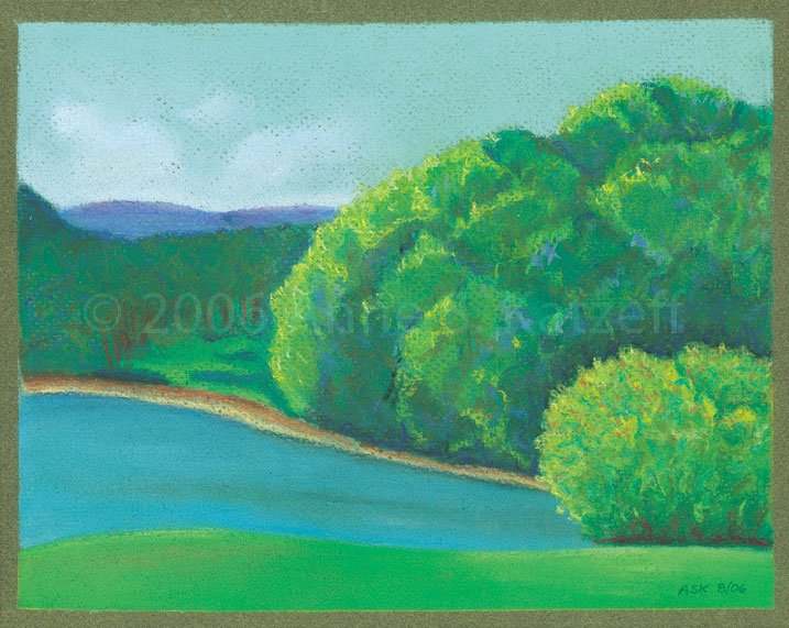 """""""Omega Morning"""", Pastel: Omega Institute, Rhinebeck, NY. © 2006 Anne S. Katzeff"""