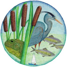 """We Are All Connected"" (0401) Colored Pencil: Mystic River Watershed, MA. © 2004 Anne S. Katzeff"