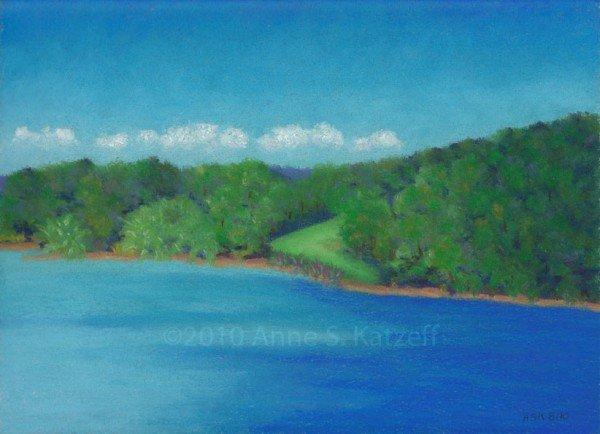 """Peaceful Beginnings"", Pastel: Long Pond Lake, Omega Institute, Rhinebeck, NY. ©2010 Anne S. Katzeff."