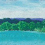 """Morning Breath"" (1203) Pastel: Long Pond Lake, Omega Institute, Rhinebeck, NY. ©2012 Anne S. Katzeff."