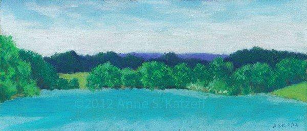"""Deep Breath"", Pastel: Long Pond Lake, Omega Institute, Rhinebeck, NY. ©2012 Anne S. Katzeff."