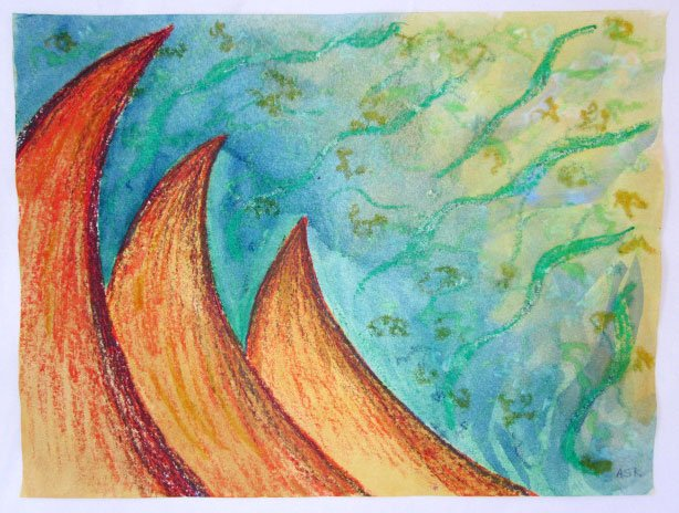 """""""Coral waves"""" painting © 2014 Anne S. Katzeff. Cray-pas and watercolor resist painting"""