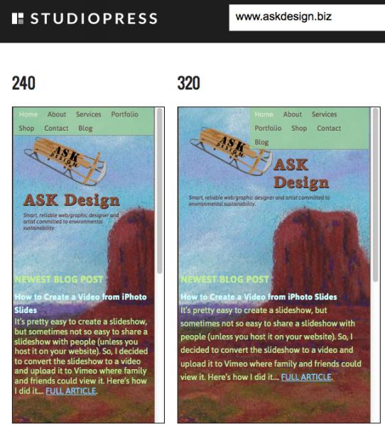 StudioPress Mobile Responsive Design Test