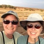 Selfie with Peggy at very wide and dry Lebata River.