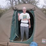 Anne in the doorway of our tent.