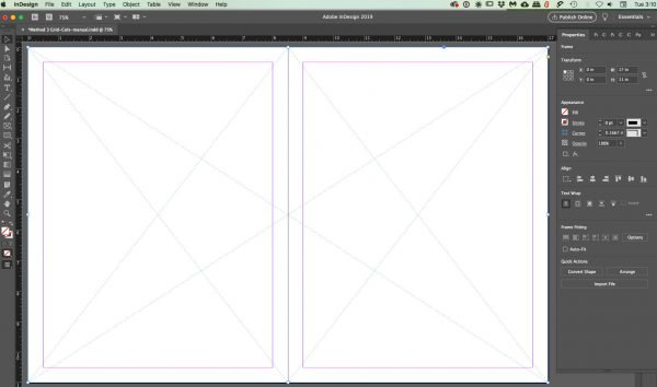 spread-3boxes for InDesign grids
