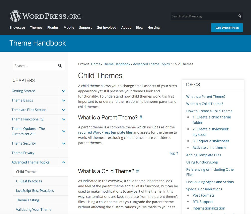 WP.org child themes explanation