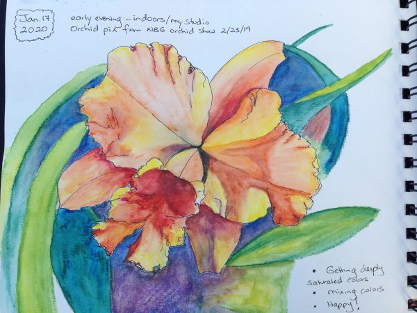 upcoming event - watercolor painting of salmon orchid