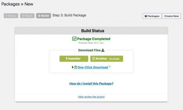 Duplicator download screen