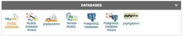 cPanel databases menu