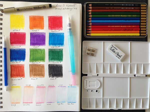 My color swatches and our tools for watercolors