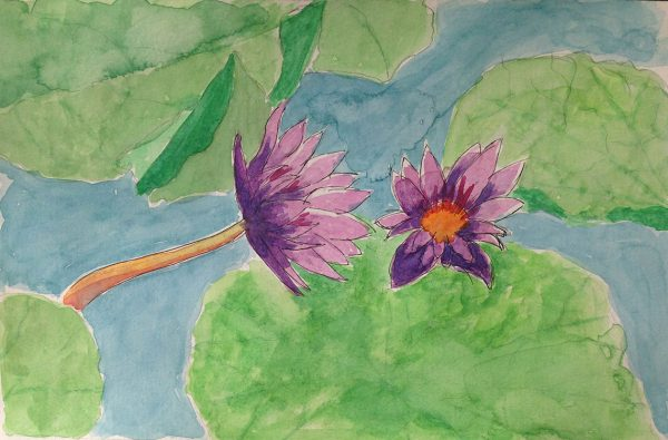 Watercolors: Lily pond flowers version 1