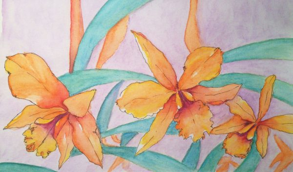 Watercolors: Orange orchids