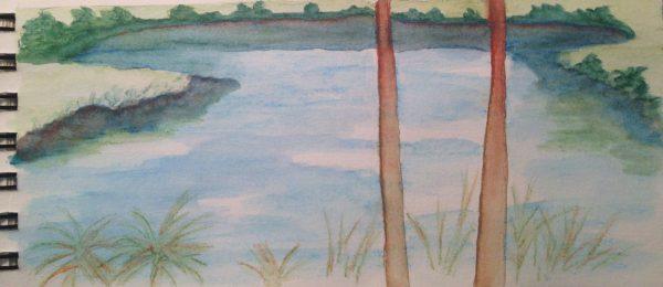 Watercolors: Overlook in the Florida garden