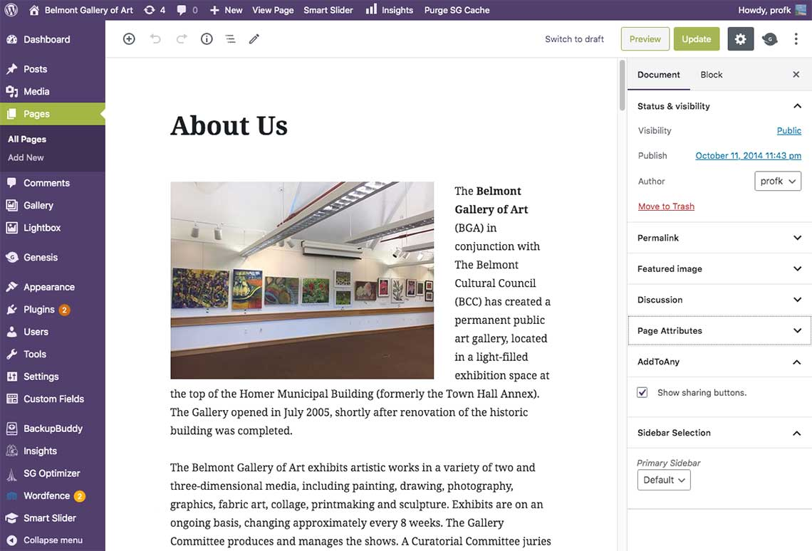 WordPress: indispensable part of my toolset - BGA About Us page