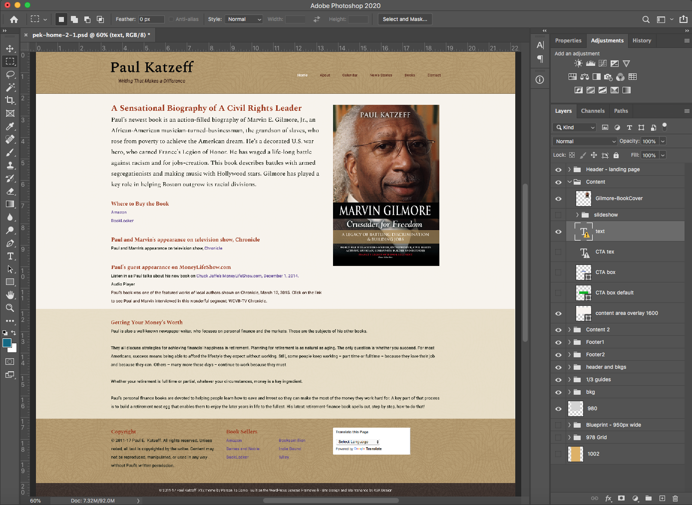 Key component in toolset: Photoshop - home page of Paul Katzeff's website.
