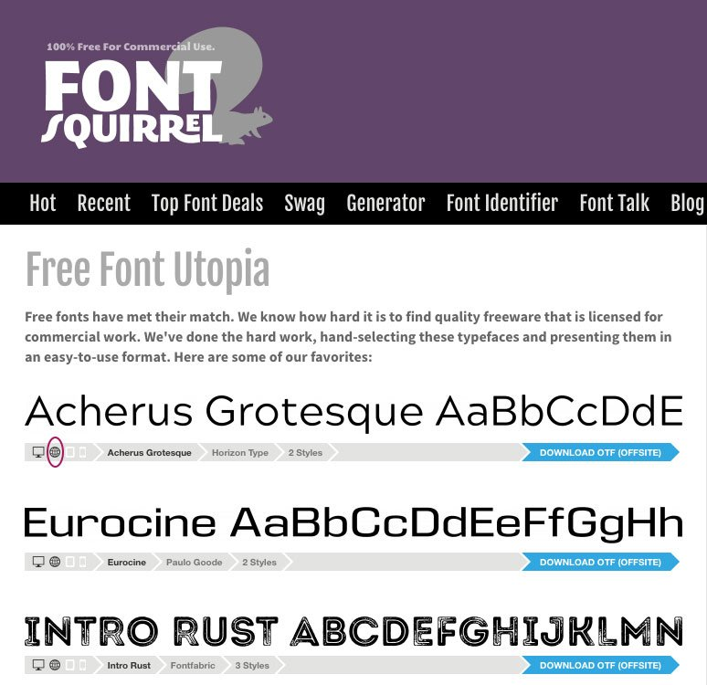 FontSquirrel home page showing typefaces