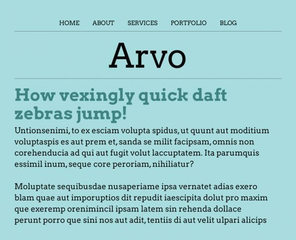best google fonts - arvo