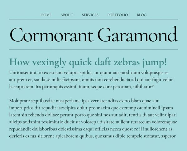 best google fonts - cormorant garamond