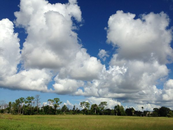 Clouds and flat land