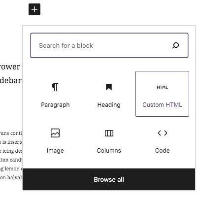 Custom html block to create columns