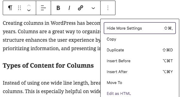 Gutenberg: Edit as HTML for columns