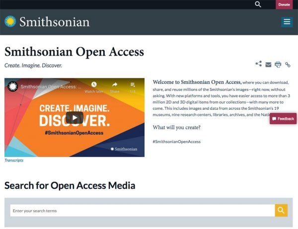 smithsonian open access home page