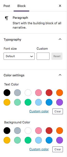 Gutenberg Block Color Settings