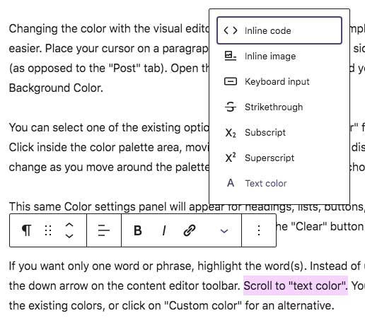Text color in Gutenberg