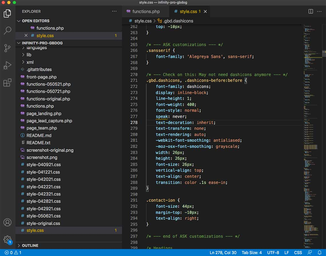 Anne's workflow: VS Code - GBDog - css file
