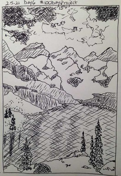 100DayProject - day 6 - snowy mountains