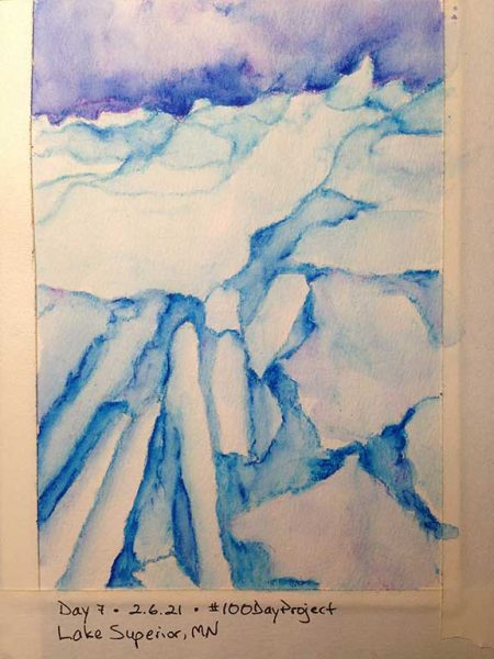 100DayProject - day 7 of art challenge - icebergs