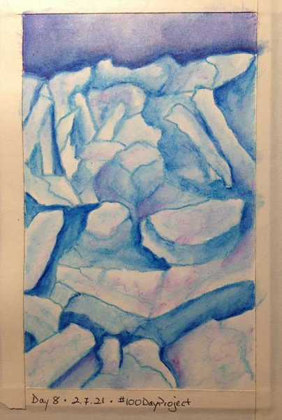 100DayProject - day 8 of art challenge - icebergs