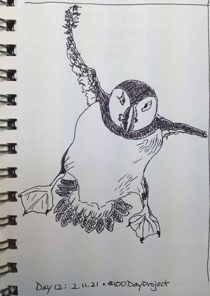 100DayProject - day 12 - flying puffin