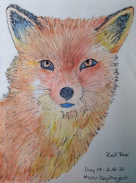 100DayProject - day 19 of art challenge - red fox