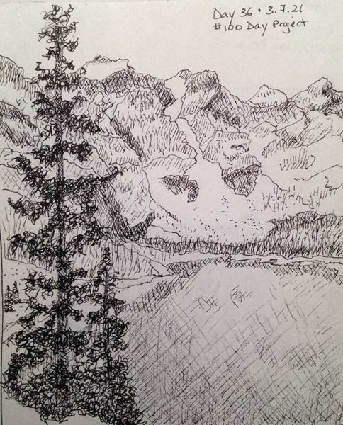 100DayProject - day 36 - snowy mountains