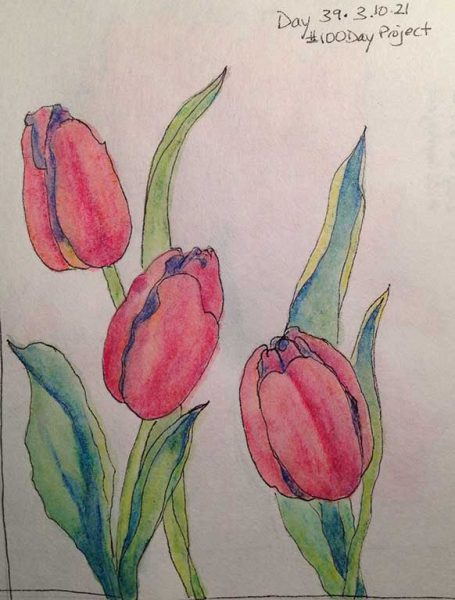 100DayProject - day 39 - tulips