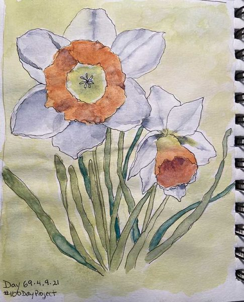 100DayProject - day 69 - narcissus painting in art challenge