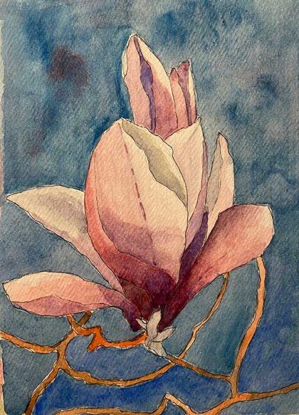 100DayProject - day 71 - magnolia painting in art challenge