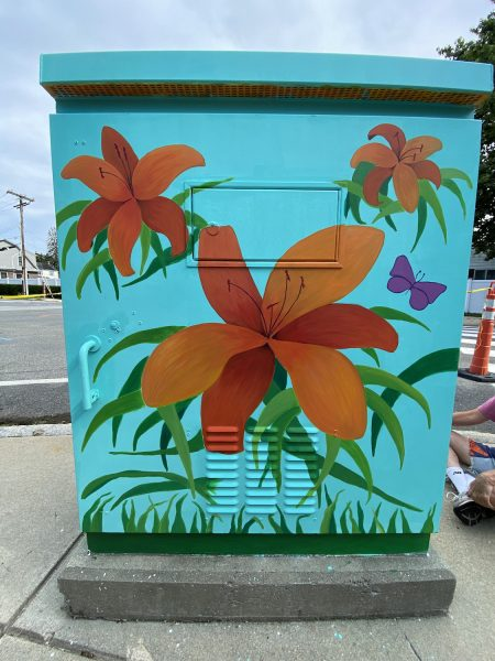 Lilies finished on the transformer box