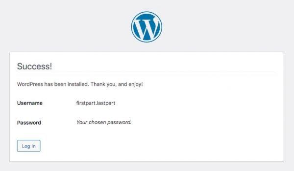 WordPress install - success