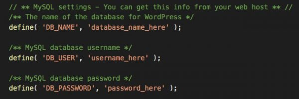 wp-config.php - database names and password