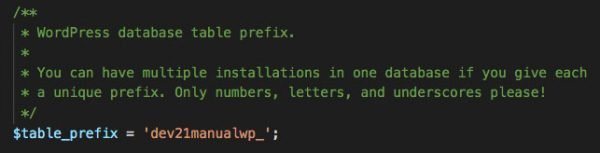 wp-config.php - database prefix