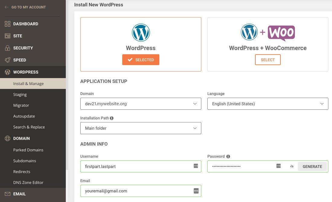 Install WordPress - setup and admin