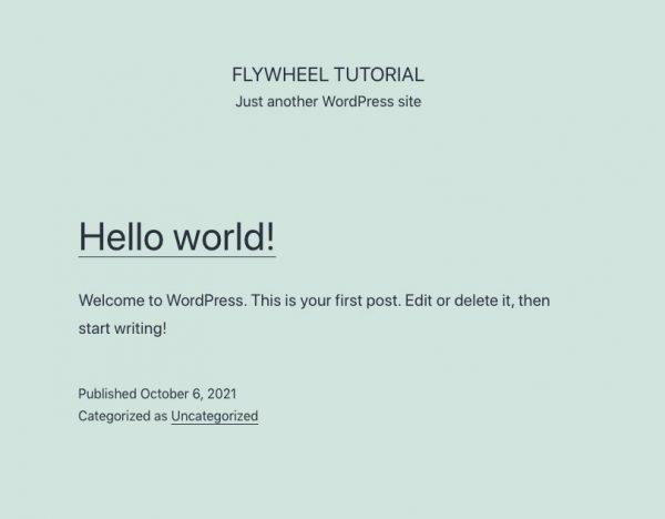 Flywheel Hello World home page